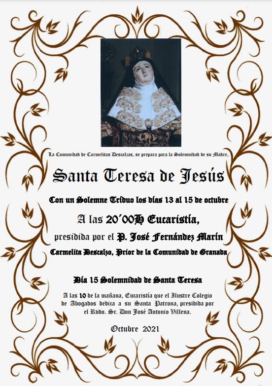 Lee más sobre el artículo Triduo a Santa Teresa de Jesús